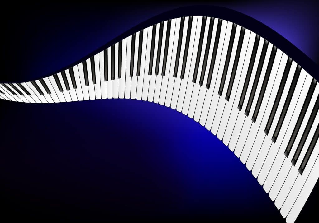 Wavy piano in a blue background